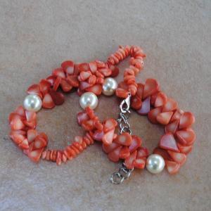 Cr 2046d collier corail rose perles nacre ethnique oriental achat vente bijoux 1