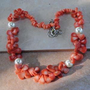 Cr 2046e collier corail rose perles nacre ethnique oriental achat vente bijoux 1