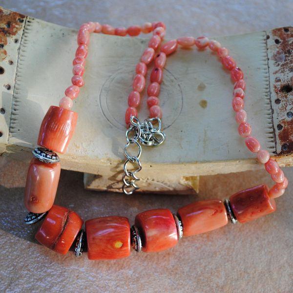 Cr 2118c collier corail rose ethnique oriental achat vente bijoux
