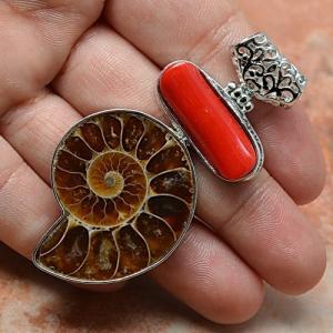 Cr 2368b ammonite fossile corail pendentif pendant achat vente bijou argent 925