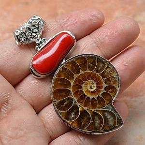 Cr 2368c ammonite fossile corail pendentif pendant achat vente bijou argent 925