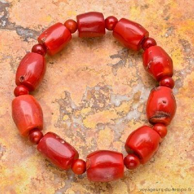 Cr 4747a bracelet corail rouge ethnique berbere achat vente bijoux orientaux