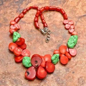 Cr 6374a collier 90gr sautoir parure corail rouge turquoise achat vente bijoux ethniques
