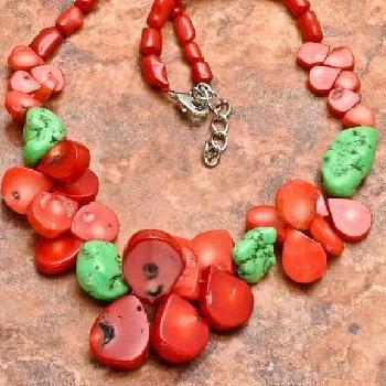 Cr 6374b collier 90gr sautoir parure corail rouge turquoise achat vente bijoux ethniques