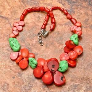 Cr 6374c collier 90gr sautoir parure corail rouge turquoise achat vente bijoux ethniques