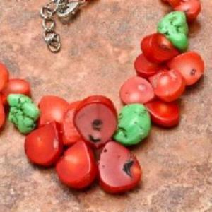 Cr 6374d collier 90gr sautoir parure corail rouge turquoise achat vente bijoux ethniques