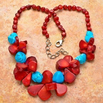 Cr 7533a collier 94gr sautoir parure corail rouge turquoise achat vente bijoux ethniques