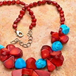 Cr 7533b collier 94gr sautoir parure corail rouge turquoise achat vente bijoux ethniques