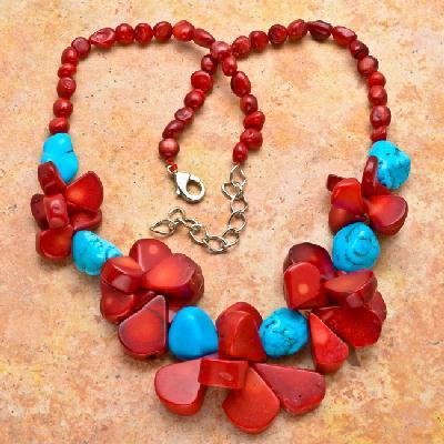 Cr 7533c collier 94gr sautoir parure corail rouge turquoise achat vente bijoux ethniques