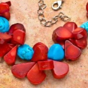 Cr 7533d collier 94gr sautoir parure corail rouge turquoise achat vente bijoux ethniques