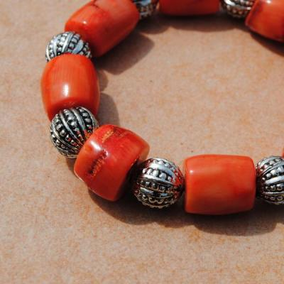 Cr 8693b bracelet corail orange achat vente bijoux ethniques