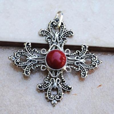 Cr 8800 pendentif croix royale corail achat vente bijou argent 925 1