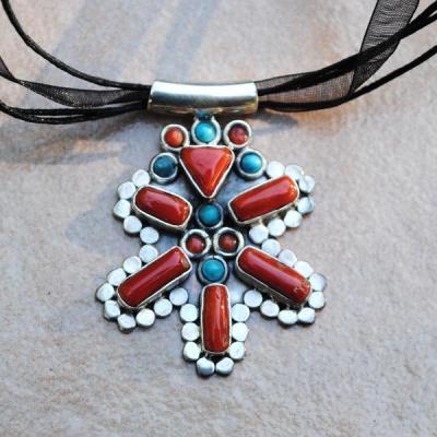 Cr 8807 pendentif collier corail turquoise achat vente bijou argent 925 2