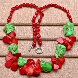 Cr 9706a collier 60gr sautoir parure corail rouge turquoise achat vente bijoux ethniques