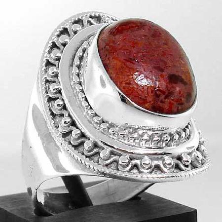 Cre 002a bague tibet tibetaine t60 corail eponge rouge naturel argent 925 achat vente