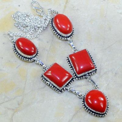 Crf 022a collier parure sautoir corail fantaisie argent 925 achat vente bijoux