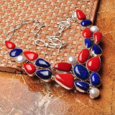Crf 086a collier parure sautoir corail lapis lazuli perle achat vente bijou argent 925