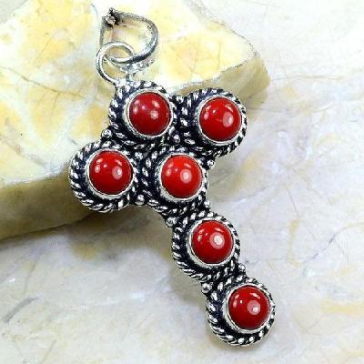 Crf 206a croix pendants pendentif corail rouge bijoux argent 925 achat vente