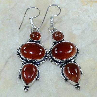 Crn 102a boucles oreilles pendants cornaline carnelian achat vente bijoux argent 925