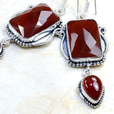 Crn 128b boucles oreilles pendants cornaline carnelian achat vente bijoux argent 925