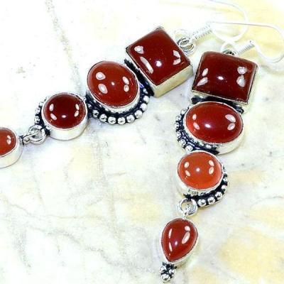Crn 132b boucles oreilles pendants cornaline carnelian achat vente bijoux argent 925