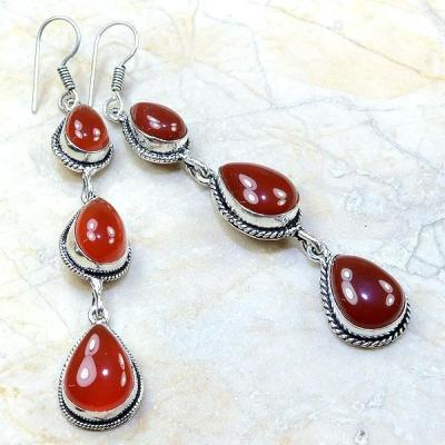 Crn 134a boucles oreilles pendants cornaline carnelian achat vente bijoux argent 925