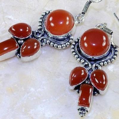 Crn 135c boucles oreilles pendants cornaline carnelian achat vente bijoux argent 925