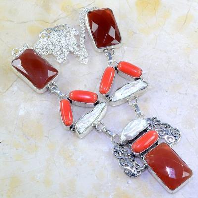 Crn 136a collier parure sautoir cornaline corail perle carnelian achat vente bijoux argent 926