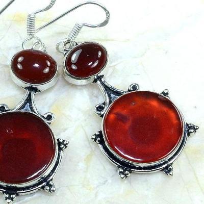 Crn 137c boucles oreilles pendants cornaline carnelian achat vente bijoux argent 925
