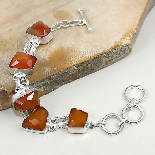 Crn 141a bracelet cornaline carnelian achat vente bijoux argent 925