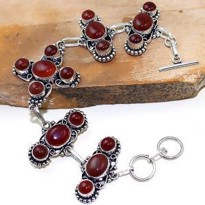 Crn 152a bracelet croix medieval cornaline carnelian achat vente bijoux argent 925