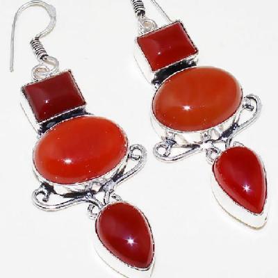 Crn 156a boucles oreilles pendants cornaline carnelian achat vente bijoux argent 925