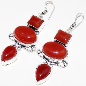 Crn 156b boucles oreilles pendants cornaline carnelian achat vente bijoux argent 925