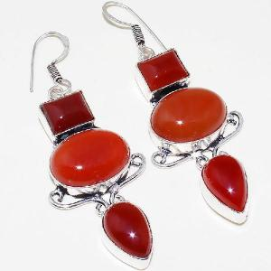 Crn 156c boucles oreilles pendants cornaline carnelian achat vente bijoux argent 925
