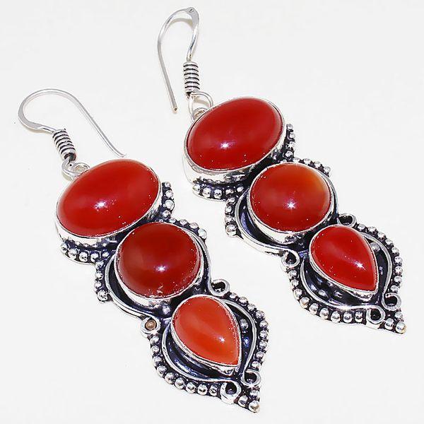 Crn 157a boucles oreilles pendants cornaline carnelian achat vente bijoux argent 925