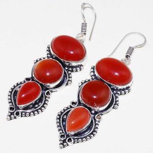 Crn 157b boucles oreilles pendants cornaline carnelian achat vente bijoux argent 925