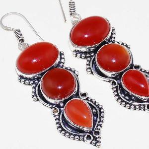 Crn 157c boucles oreilles pendants cornaline carnelian achat vente bijoux argent 925