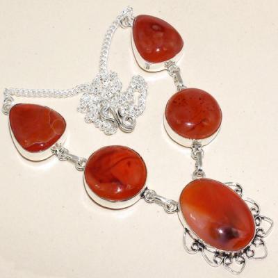 Crn 163a collier parure sautoir cornaline carnelian achat vente bijoux argent 925