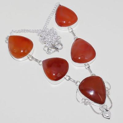 Crn 164a collier parure sautoir cornaline carnelian achat vente bijoux argent 925
