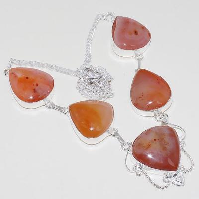 Crn 166a collier parure sautoir cornaline carnelian achat vente bijoux argent 925