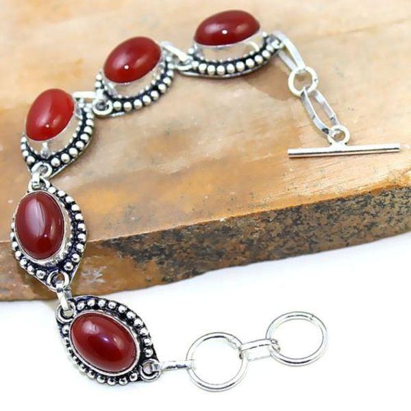 Crn 170a bracelet cornaline carnelian achat vente bijoux argent 925