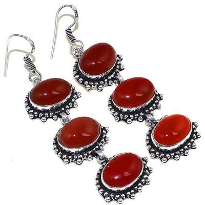 Crn 174a boucles oreilles pendants cornaline carnelian achat vente bijoux argent 925