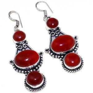 Crn 175a boucles oreilles pendants cornaline carnelian achat vente bijoux argent 925