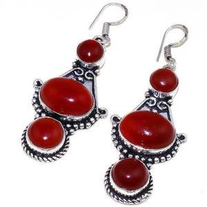 Crn 175b boucles oreilles pendants cornaline carnelian achat vente bijoux argent 925