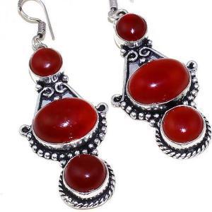 Crn 175c boucles oreilles pendants cornaline carnelian achat vente bijoux argent 925