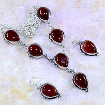 Crn 192a parure collier boucles cornaline carnelian achat vente bijoux argent 925