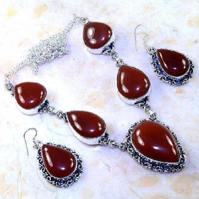 Crn 193a parure collier boucles cornaline carnelian achat vente bijoux argent 925
