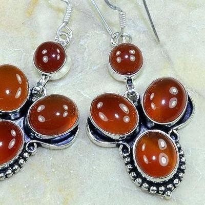 Crn 208b boucles oreilles pendants cornaline carnelian achat vente bijoux argent 925