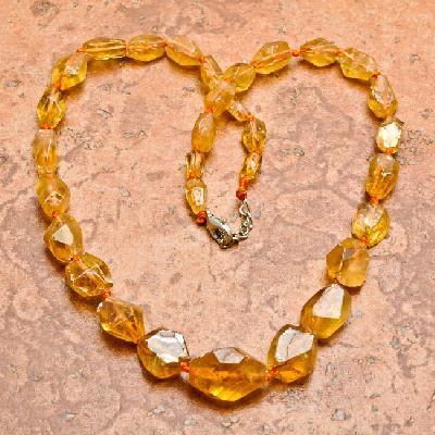 Ct 0014a collier parure sautoir perles de citrine dorees achat vente argent 925