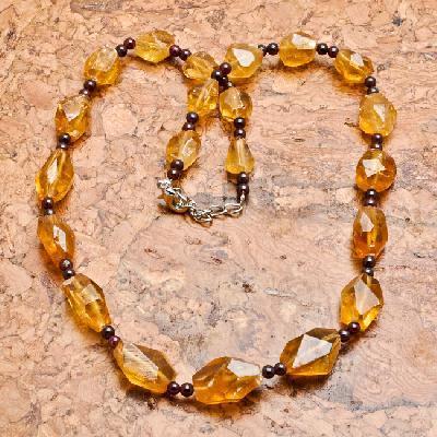 Ct 0016a collier parure sautoir perles de citrine achat vente argent 925